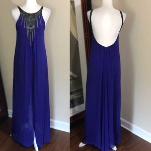 Bcbgmaxazria Electric Blue Backless Silk Gown